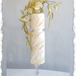 Wedding cake with Brassavola orchids - Cake by Tassik