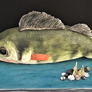 Fish on water cake