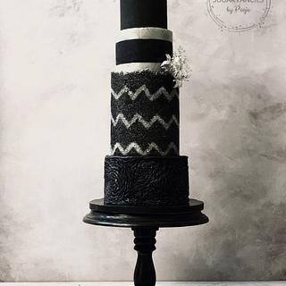 Chevron Sugarsheet Wedding Cake
