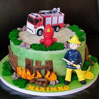 cake with firefighter - Cake by OSLAVKA