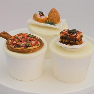 Italian Food Cupcakes 🍕🇮🇹 - Cake by Juliana's Cake Laboratory
