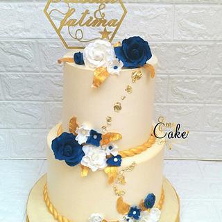 Simple elegant engagement cake