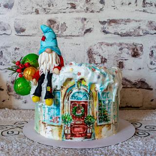 Christmas cake with gnome - Cake by TortIva