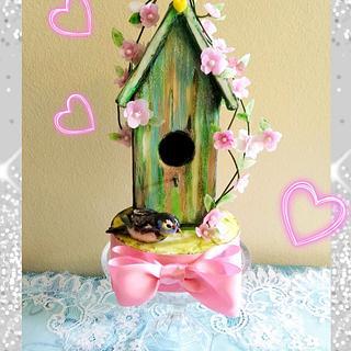 Bird House and the sparrow - Cake by Bethann Dubey