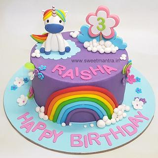 Unicorn theme customised cake for kids birthday