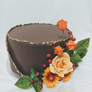 Brown with flowers - Cake by Anka