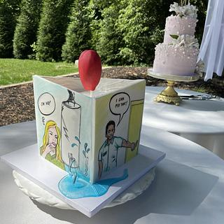 Pop art groom's cake that tells a story!
