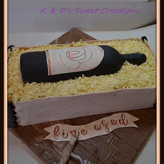 Wine in crate birthday cake