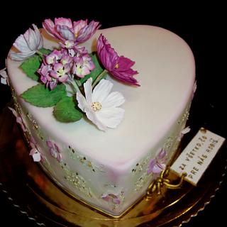 heart with flowers - Cake by OSLAVKA