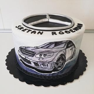 Hand painted Mercedes cake