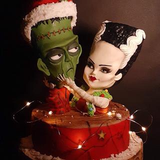 Frankenstein's love Christmas 🎄🧟♂️🧟♀️ - Cake by Melissa Ramirez