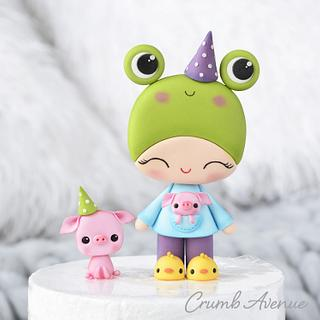 Frog and Piglets Cake Topper