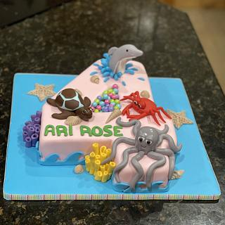 number 4 with sea life - Cake by Cakes For Fun