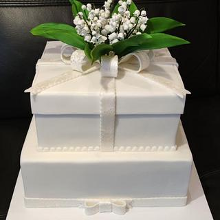 Wedding cake with sweet lilies of the valley  - Cake by OSLAVKA