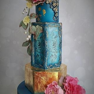 Blue and gold floral wedding cake - Cake by Bonnie Bakes UAE