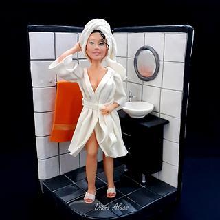 In shower