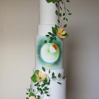 Geometric jungle 5 tiered cake