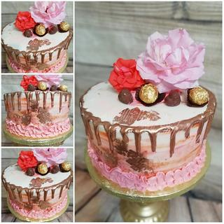 Pretty Pink and gold cake - Cake by Fernandas Cakes And More
