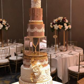 Ivory & Rose gold wedding cake