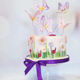 Flowercake and butterflies - Cake by Judith-JEtaarten