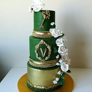 Wedding green gold cake