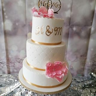 Wedding cake with handmade roses