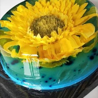 sunflower gelatin flowers - Cake by Graziella Albore