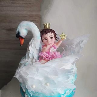 Swan and little princess - Cake by Tanya Shengarova