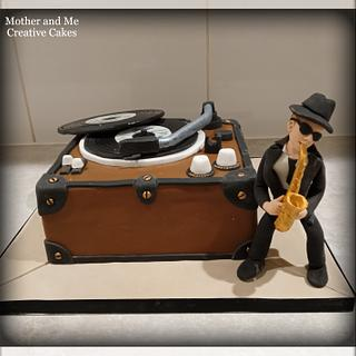 Record Player Sax Player cake