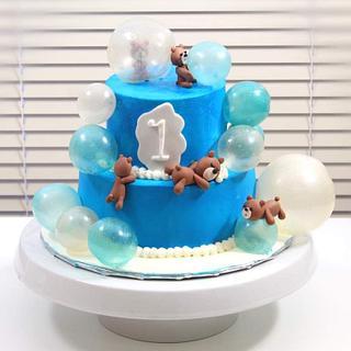 1st Birthday Teddy Bear Cake