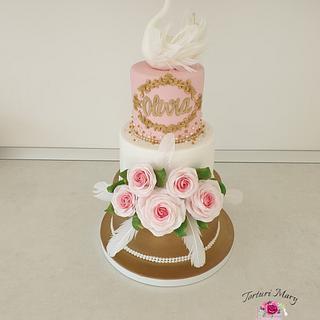 Swan cristening cake. - Cake by Torturi Mary