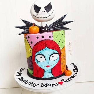 Jack & Sally (The Nightmare Before Christmas) - Cake by Lulu Goh