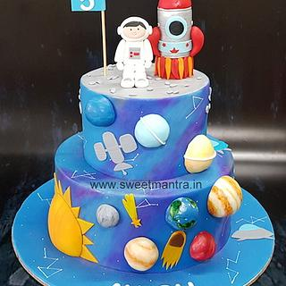 Space, galaxy theme handpainted cake with planets n sun