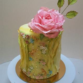 Wafer paper rose cake - Cake by Darina