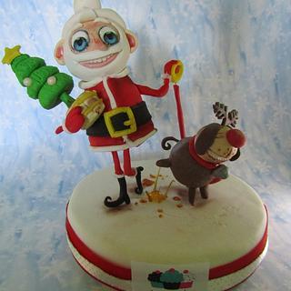 funny Santa topper - Cake by samsamcakes
