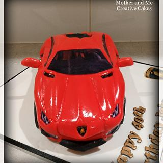 Carved car cake Lamborghini - Cake by Mother and Me Creative Cakes