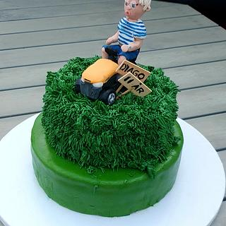 Ride-on lawn mower birthday cake