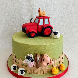 Tractor and animals