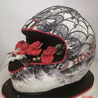 3d helmet cake with roses