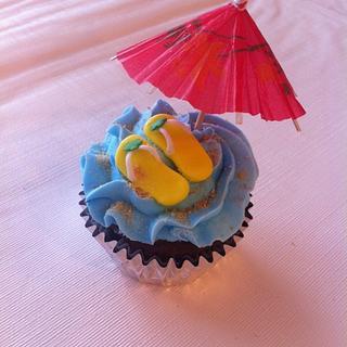 Beach flip flop cupcakes