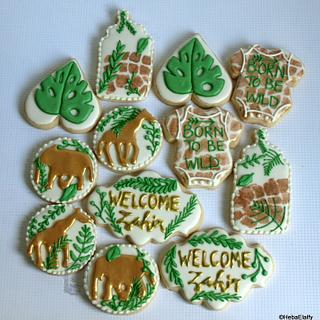 Safari themed baby shower cookie set