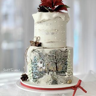 Hand painted winter cake
