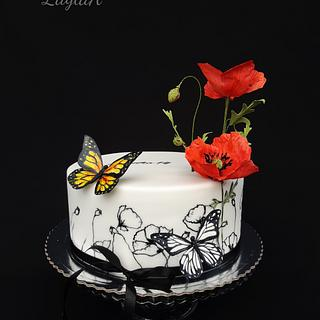 Black and white with poppy  - Cake by Layla A