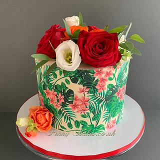 Tropical theme with roses