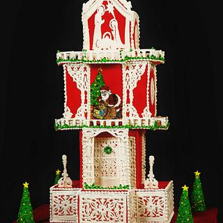 Christmas themed cake with royal icing panels  - Cake by thefrostgoddess