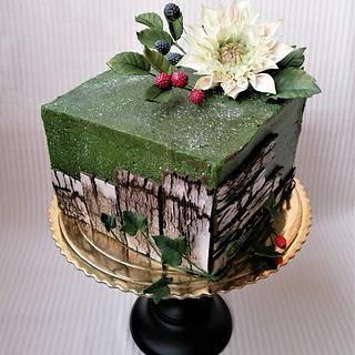Cake with dahlia 💚❤️💙