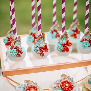 Turquoise and red sweet table, vintage cake pops and cupcakes - Sweet Avenue Cakery