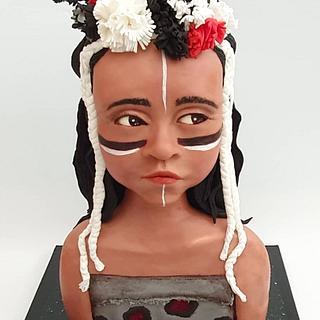 native american indian girl - Cake by Netta