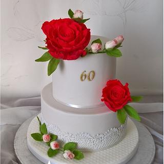 Birthday cake with sugar roses - Cake by Tortolandia