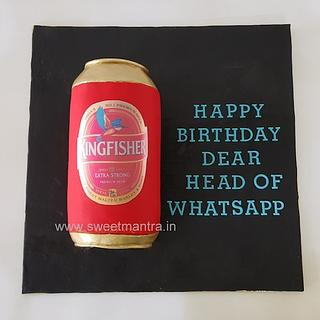 Kingfisher beer can shaped 3D cake for dad's birthday
